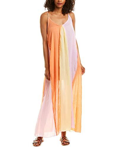Elan Women's Wovens Colorblock Maxi Dress Swim Cover Up Lilac/Yellow S