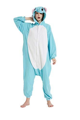 Dorliki Pijama Unisexo Trajes de Dormir Animal Disfraz Cosplay Halloween Navidad Mono con Capucha Elefante Azul XL