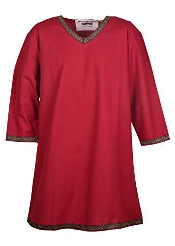 Battle-Merchant Wikinger Tunika Langarm für Herren Mittelalter LARP Kostüm (Rot, Größe L)