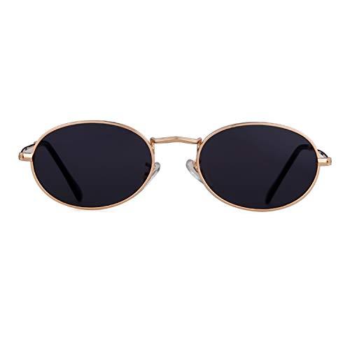 Vintage Sunglasses Retro Oval Designer Sunglasses For Women Men (Gold Frame Grey Lens, 42)