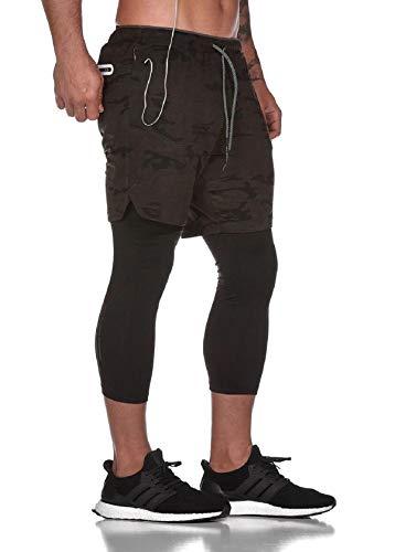 Tuopuda Pantaloncini Sportivi Uomo, 2 in 1 Pantaloncini da Palestra Fitness Shorts Estivi Pantaloni Corta con Tasche Foro per Cuffie Vita Elasticizzata Asciugatura Veloce, Camuffamento Profondo, M