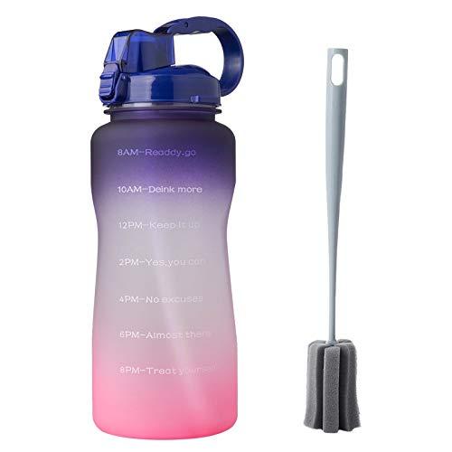 Botella para deportes al aire libre con mango de paja, cubierta de rebote de gran capacidad, a prueba de fugas, sin sudor, botella para gimnasio, portátil al aire libre, 2000 ml