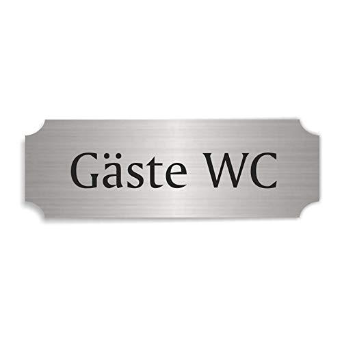 Silberfarbenes Schild GÄSTE WC - ca. 15 x 5 cm - selbstklebend wetterfest