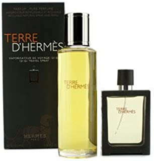 Hermes Terre D'Hermes Pure Parfum Refillable Spray 30ml/1oz + Refill 125ml/4.2oz - 2pcs