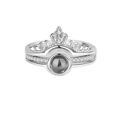 UINGKID Schmuck Damen Ring 100 Sprachen Ich Liebe Dich Romantisches Geschenk Ring Zwei in einem Diamant Damen Schmuck
