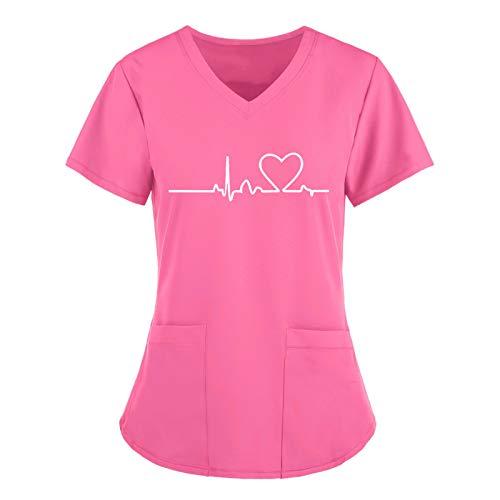 HUBA Damen V-Ausschnitt Schlupfhemd Kasack mit Motiv Bedruckt Kurzarm T-Shirts Tops Arbeitsuniform Weihnachts Thanksgiving Bluse(S-3XL) (B-Rosa, 40)