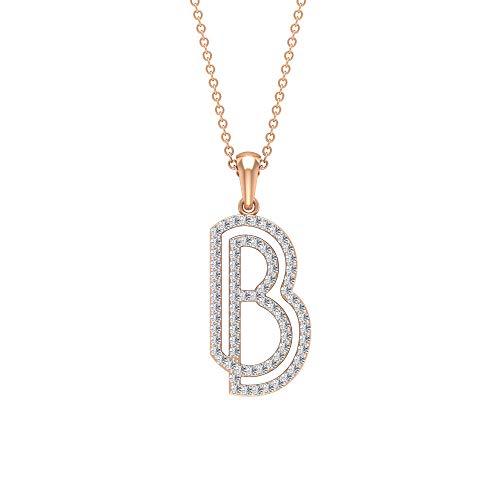 HI-SI 1/2ct Diamant Initiale Charm-Halskette, B Alphabet Name Anhänger, Buchstabe Tropfenkette Anhänger, Einzigartiger Jahrestag Anhänger, Mädchen Versprechen Anhänger,18K Roségold Mit Kette