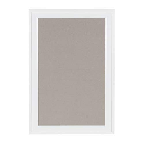 DesignOvation Bosc Framed Gray Linen Fabric Pinboard, 18.5x27.5, White
