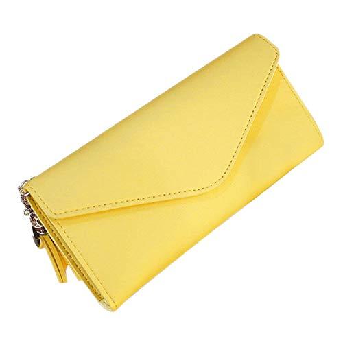 YIXIA Cartera de piel sintética para mujer, con diseño de hojas, para tarjetas y tarjetas de cheques, con cremallera, para viajes, para viaje, para pasaporte, color amarillo limón, para viajes