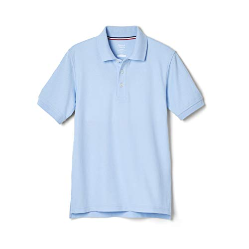 French Toast Boys' Short Sleeve Pique Polo Shirt (Standard & Husky), Light Blue, 6-7