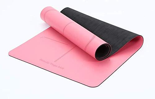 NAXIAOTIAO Fitnessmatte Anfänger geschmacklos Rutschfeste Matte Körperlinie Verdickung Dämpfung Yoga Sportmatte,Pink