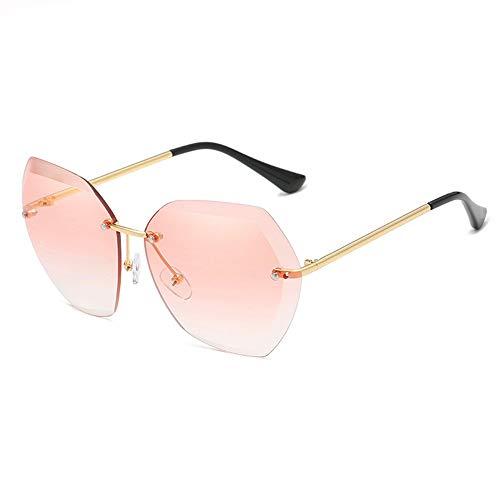 WHSS Sunglasses Gafas de Sol de Playa Gafas de Sol Ocean Piece Gafas de Sol sin Marco Mujeres Retro Visera de Metal - Rosa