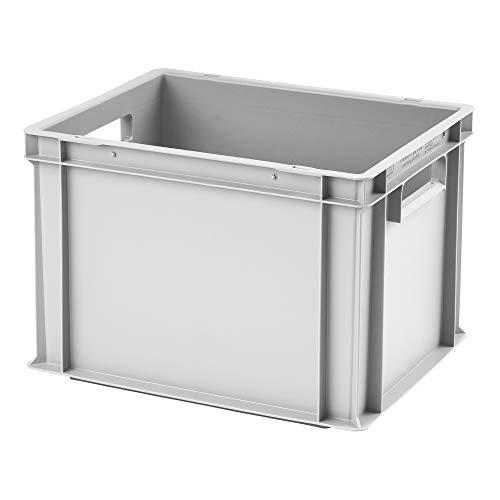 Euro-Stapelbox EB-423, 400x300x235 mm (LxBxH), grau ähnl. RAL7001, aus Polypropylen, lebensmittelecht, 2 Handgriffe, ca. 22 Liter Vol.