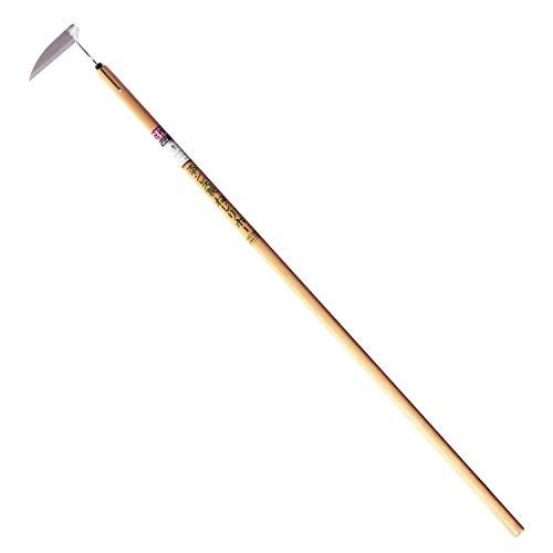 "Nisaku NJP1010 Medium Length Nejiri Gama Sharpened Weeding Hoe, Authentic Tomita (Est. 1960) Japanese Stainless Steel, 4.5"" Blade Width, Polished 45″ Wood Handle"