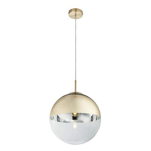 Design Decken Pendel Leuchte klar Wohn Zimmer Beleuchtung Glas Kugel Hänge Lampe gold Globo 15857