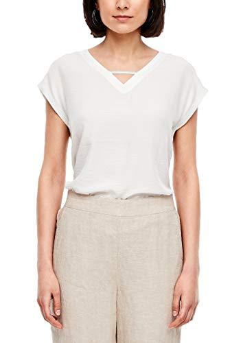 s.Oliver Damen Shirt mit Satinfront Off-White 46