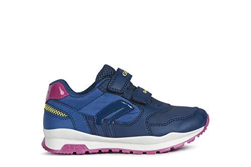Geox Mädchen Sneaker Pavel Girl, Kinder Low-Top Sneaker,lose Einlage, Klettschuh Klett-Verschluss Kids Maedchen Kinderschuhe,Navy/AVIO,34 EU / 1.5 UK