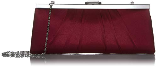 Jessica McClintock Blaire Womens Satin Frame Evening Clutch Bag Purse with Shoulder Chain Included, Wine