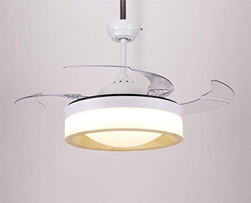 Ventilador de techo nórdico luz restaurante dormitorio hogar simple sala de estar ventilador invisible ventilador lámpara de madera grano color tienda decoración lámpara
