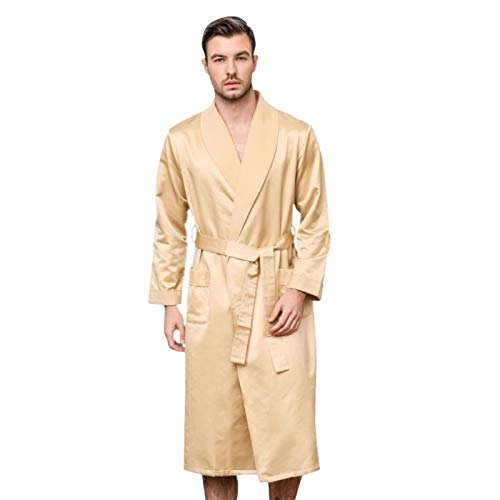 LZJDS Silk Pajamas Men's Night Robe Gold Thickened Nightgown V-neck Belt Brushed Warm Bathrobe Long Dressing Gown,Gold,1X