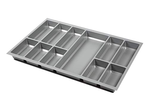 noveo Besteckkasten für Schubladen - Silber metallic | 500er Korpustiefe - passgenau für Nobilia UVM (473,5 x 693mm (80er Korpusbreite))
