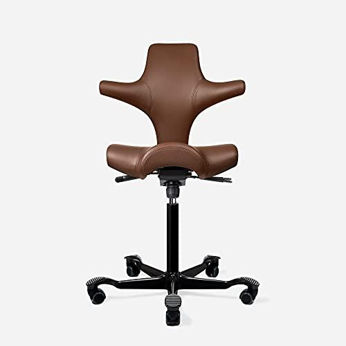 HAG Capisco Adjustable Standing Desk Chair - Black Frame - PVC-Free Vinyl Chestnut Brown Seat