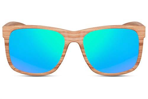Cheapass Gafas de Sol Estilo Amaderado Deportivo Montura de Madera con Lentes Verdes Espejadas protección UV400 Hombres