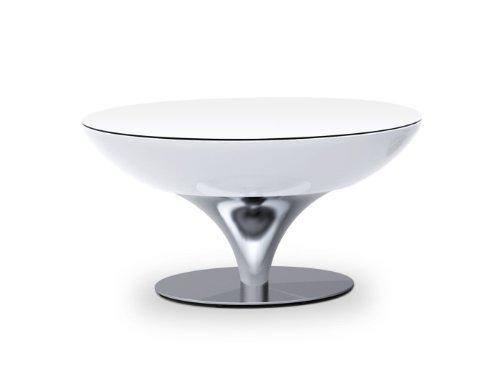 Moree Lounge Tisch/Beistelltisch, beleuchtet, Ø 84 cm, H 45 cm, ABS glänzend, inkl. Glasplatte, weiß transluzent, Aluminium gebürstet, eloxiert, für 1x max. 42 W E27, für Innen, Edition Howe-Deko