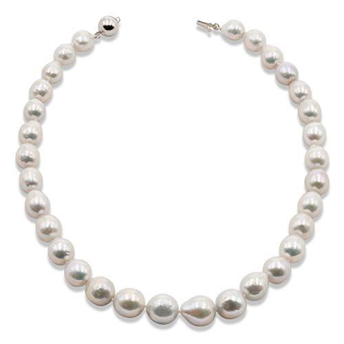 Secret & You Collar de Perlas de Mujer Cultivadas de Agua Dulce Semi - Barrocas Grandes de 45 cm de Largo Perlas Barrocas de 10-14 mm con Nudo Entre Cada Perla.