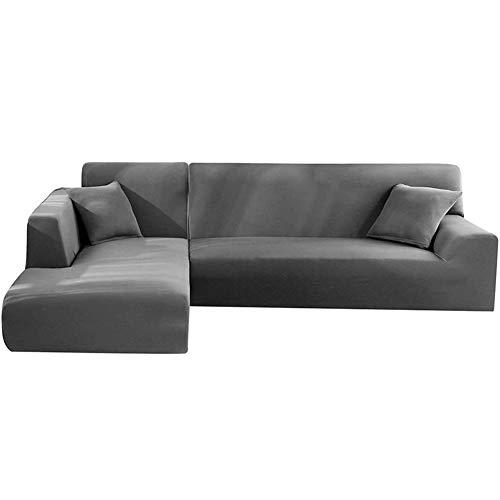 Funda de sofá de esquina con reposabrazos – Funda de sofá modelo L – Protector extensible en forma de L – Tejido elástico – 2 piezas – Color gris – 2 asientos + 3 asientos)