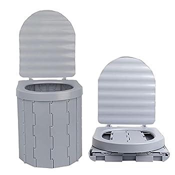 Toilette de Camping, PVC Toilette Portable Toilettes de Camping en Plein air Chaise de Toilette Pliable Mobile pour Le Camping, la randonnée, Les Excursions, Les embouteillages