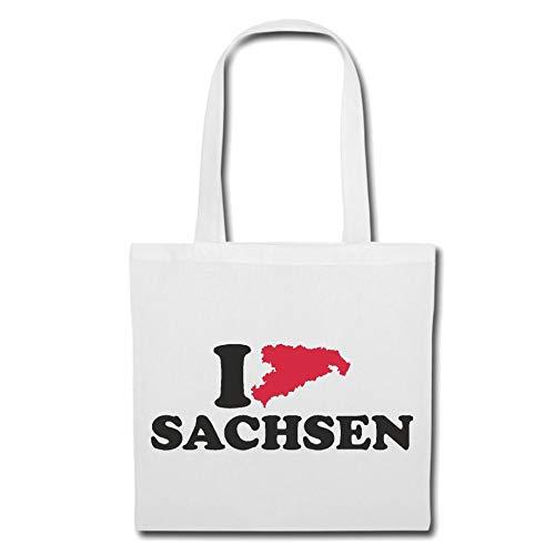 Tasche Umhängetasche I LOVE SACHSEN - DEUTSCHLAND - GERMANY - BUNDESLAND - HAUPTSTADT Einkaufstasche Schulbeutel Turnbeutel in Weiß
