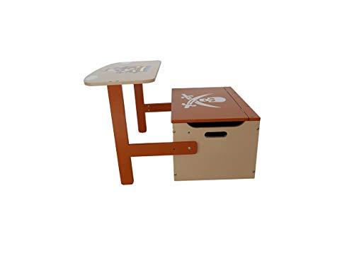 Bebe Style PRF1CTB Verwandelbare Spielzeugkiste + Tischbank + Stuhl - Holzkiste Aufbewahrung, braun - 5