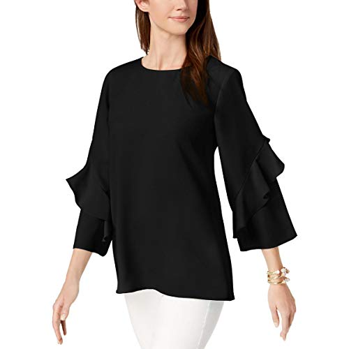Alfani Womens Ruffled Sleeves Zip Back Blouse Black S