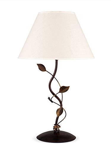 Helios Leuchten 403556 Florentiner LED Tischleuchte antik-braun | florale Lampe Leuchte Tischlampe | Nachttischlampe Landhaus Stil | Schreibtischleuchte Stoffschirm Leinen