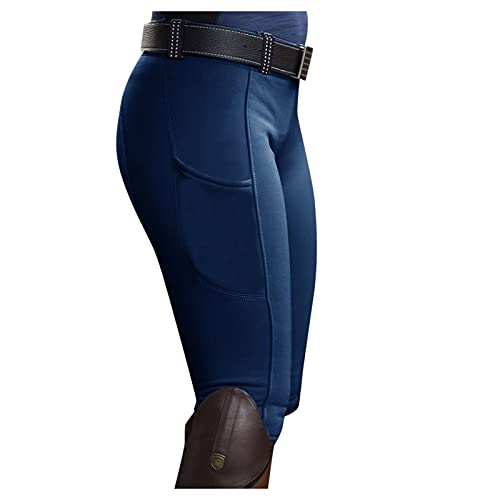 Ikevan Women's Equestrian Breeches Horse Riding Pants, Full Seat Schooling Tights Blue