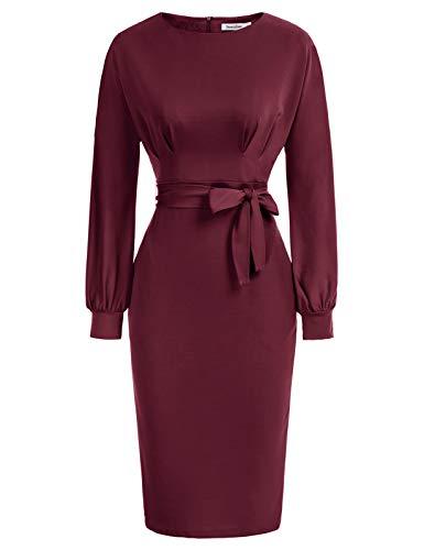 JASAMBAC Figurbetontes Bleistiftkleid für Damen, Bürokleidung zur Arbeit, Kleider mit Taschengürtel, Weinrot -1, X-Groß