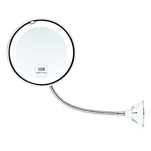 Hamkaw 10X Vergrößerter Beleuchteter Schminkspiegel Mit Flexiblem Schwanenhals Und Starkem Saugnapf 360 Grad-Schwenker-Badezimmer-Eitelkeits-Kosmetikspiegel
