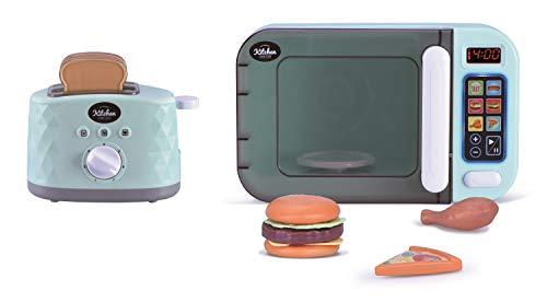Oojami My First Kitchen Appliance - Juego de microondas y tostadora (incluye falso juego de alimentos, sonidos y luces realistas, es un...