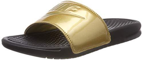Nike Women's Benassi Just Do It Synthetic Sandal (8 M US, Black Metallic Gold)