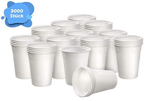 Herrmann Einwegtrinkbecher 0,2 Liter weiß   3000 Stück   Partybecher aus Kunststoff   Ideal für Feste - wie Geburtstage, Grillparties, sowie für Hygienebereiche - Patienten, Pflege UVM.