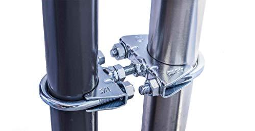 STORM-PROOF - Sonnenschirmhalter für runde Geländer, Schirmstockdurchmesser von 38mm bis 45mm, stabile 2-Punkt-Befestigung komplett aus Stahl