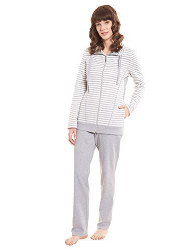 Rösch Damen Hausanzug Zweiteiler Streifen Baumwolle Reißverschluss Taschen Sport Freizeit Jogginganzug 1203519 44 Ringlet Grey