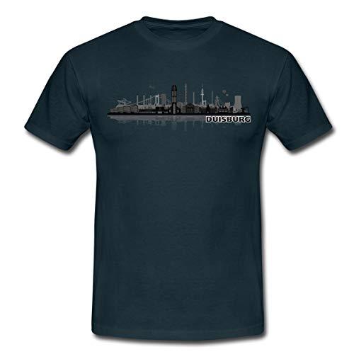 Duisburg Skyline Stadt Silhouette Männer T-Shirt, 3XL, Navy