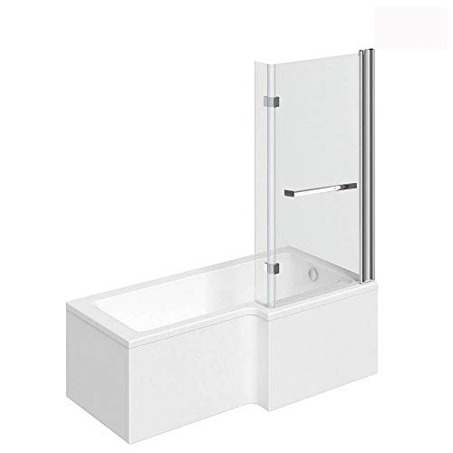 Home Deluxe - Badewanne mit Duschwanne - Elara Links- inkl. komplettem Zubehör und Duschabtrennung | Duschwanne, Badewanne mit Dusche
