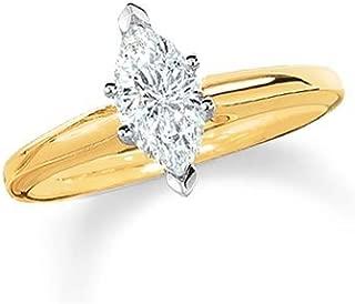 0.95 Carat Near 1 Carat Marquise Shape 14K White Gold Solitaire Diamond Engagement Ring