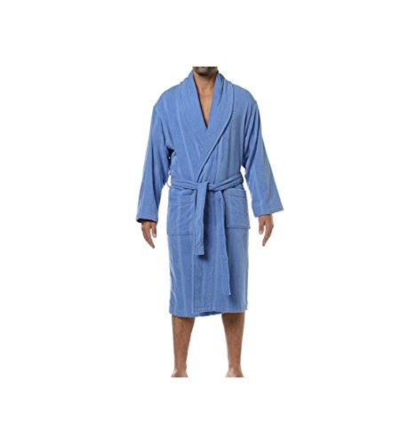 Hom K-Plaza Kimono Long Eponge Coton Peignoir, Bleu, Large (Taille Fabricant: 5) Homme