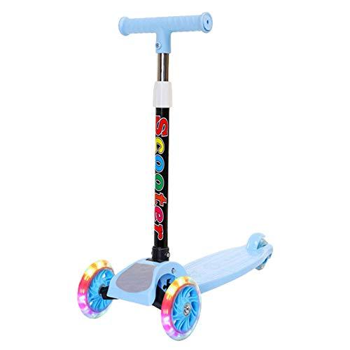 chinejaper Barnscooter, sparkcykel, tre hjul, justerbar höjd, hopvikbar, sparkskoter med 3 blinkande hjul, för pojkar/flickor från 2–8 år