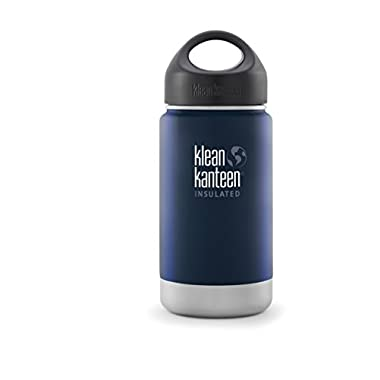 Klean Kanteen Wide Insulated Bottle with Stainless Loop Cup, Deep Sea, 12-Ounce