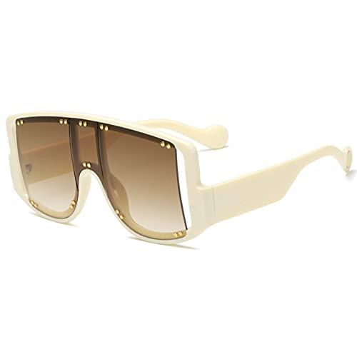AMFG Gran marco arroz uñas gafas de sol hombres y mujeres tendencia colorido océano gafas de sol gafas de sol de la pasarela (Color : B)